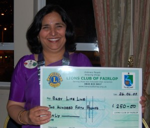 £250 to PDG Vijay Arora for her baby lifeline appeal